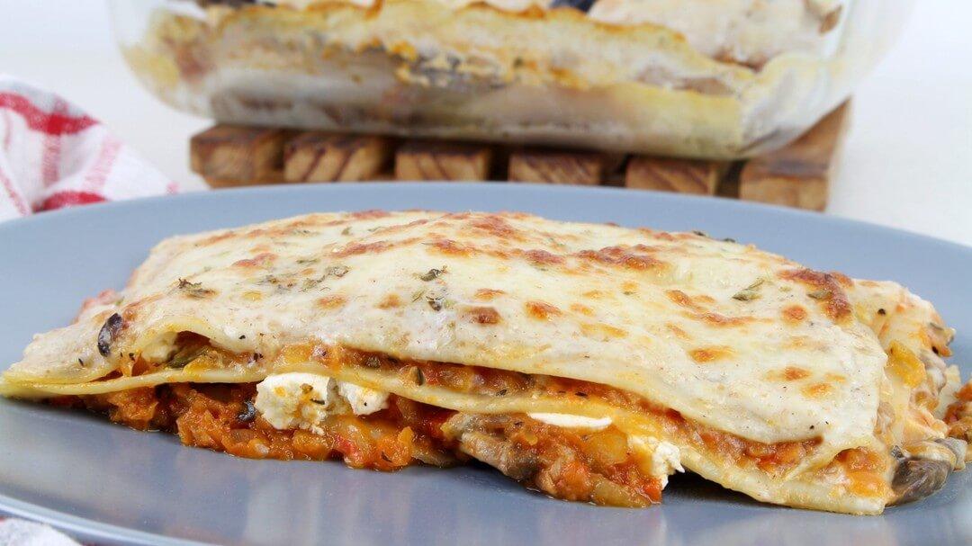 Receta de lasaña de verduras y queso de cabra en Thermomix y Mambo